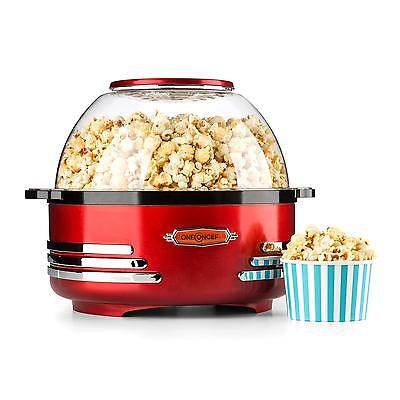 New Red Electric Retro Popcorn Maker Machine Kitchen Party Coontainer Lid Quick