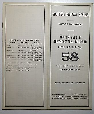 Southern Railway 1941 Employee Timetable  -  New Orleans & Northeastern Railroad