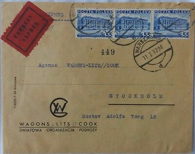 Poland 1937 Wagons Lits Cover With Express Label To Sweden