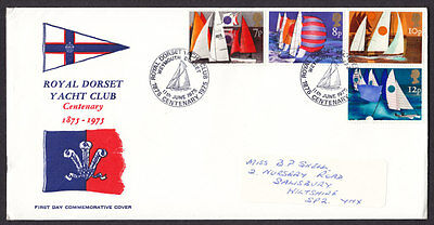 1975 Sailing Set Of 4 On Royal Dorset Yacht Club Official Fdc