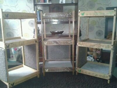 Large Cat Beds, Wooden Triple Super Bunkbed Personalised With Scratch Posts