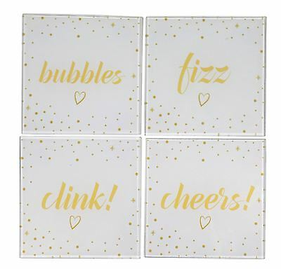 Set Of 4 Clink Bubbles Fizz Cheers Dots White Gold Glass Coasters 3X11X11Cm