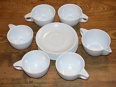 12 pc Melmac Ware Coffee Tea Cup Saucer Creamer White