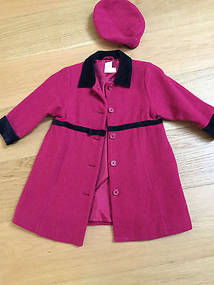 Adorable Rare Gymboree Red Smart Coat And Matching Beret Hat - Age 3