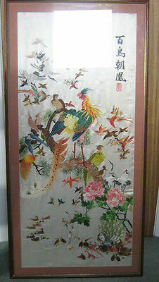 Antique Chinese Silk Embroidery Panel Textiles 1000 birds pay homage to Phoenix