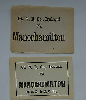 2 Different Great Northern Railway (Ireland) Luggage Labels To Manorhamilton