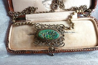 Antique Victorian  Handsome open wire Pendant Style Beautiful Necklace -Agate?