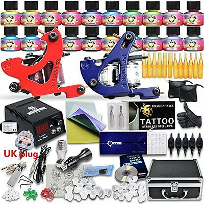 Complete Beginner Tattoo Kit 2 Top Machine Guns Power Needles 20 Color USA brand
