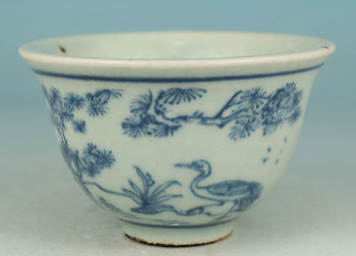Chinese Old Blue and white Porcelain Handmade Painting deer Tea Cup Bowl