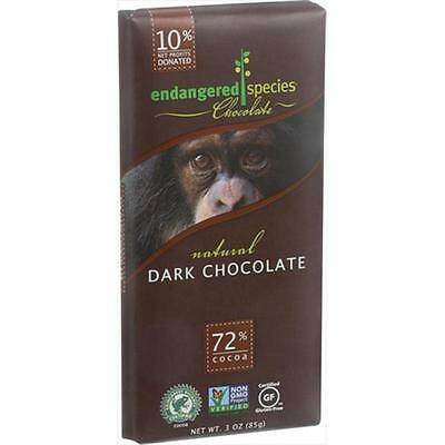 Endangered Species Chocolate Bars Dark Chocolate, 3 Ounce Case Of 12