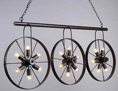 Wrought Iron Vintage Industrial Style Spoke Wheel Linear Chandelier Billiard