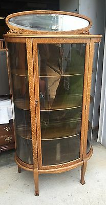 Curio China Cabinet Tiger Oak Antique curved Glass Claw feet Beveled Mirror