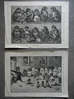 1889 Pr Louis Wain, Monkeys Peppercorns+ Cats The Ghost Story.Antique Engravings
