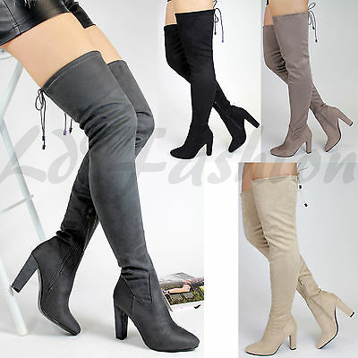Womens Ladies Over The Knee Boots Suede Shoes High Heel Block Lace Thigh Sizes