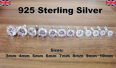 925 Sterling Silver - Clear Round CZ Cubic Zirconia Stud Earrings -  8 Sizes