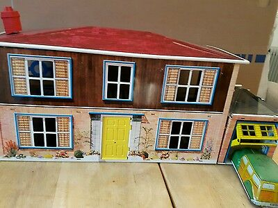 Vintage Mettoy Tinplate Dolls House And Car ( in original packaging)
