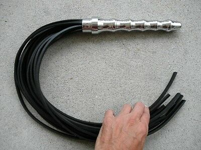 NEW HEAVY DUTY Leather Flogger 15 TAILS Metal BEADED Handle - HORSE TRAINER