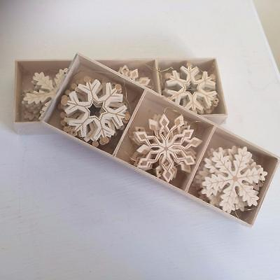Set Of 24 Cream And Gold Wooden Christmas Snowflake Tree  Decorations