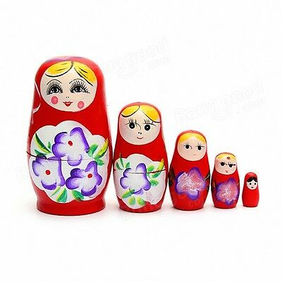 Russian Doll Set Wooden Red Hand Carved Hand Painted Matryoshka 5-Piece Gift
