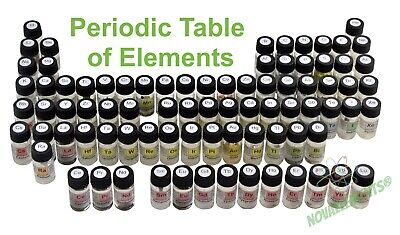 Set of 70 periodic table elements samples in labeled glass vial, no box included