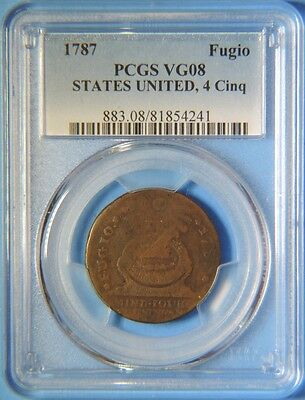 1787 States United 4 Cinq Fugio Colonial Copper One Cent PCGS VG8
