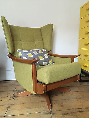 Wing Back Swivel  Re-upholstered Button Back Chair, Green Wool 1960s 1970s