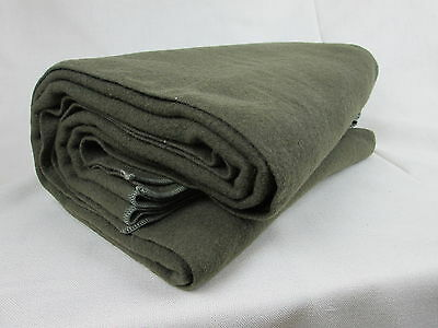Gov. Issued 100% WOOL BLANKET 72 in. X 54 in  Over 3LBs Army Green +FREE SHIPING