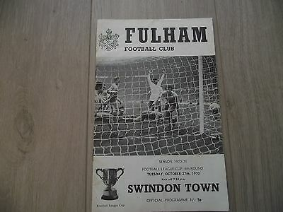 1970-71   Fulham v Swindon -  League Cup Round 4
