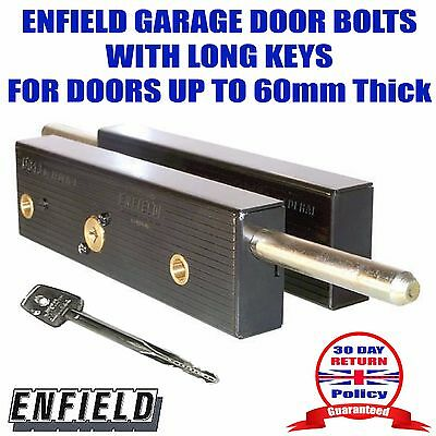 GARAGE DOOR BOLTS LOCK Enfield D613Long Keyed Alike Pair Doors up to 60mm thick