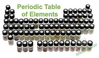 Set of 70 periodic table elements in labeled glass vial, acrylic box available