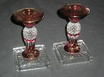 Set of 2 Westmoreland Waterford Wakefield Pattern Ruby Red Candlesticks Signed