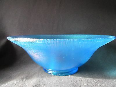 Northwood, Diamond, or Fenton Iridescent Stretch Glass Flared Console Bowl Blue