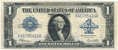 US $1 Dollar Bill Large Silver Certificate 1923, Blue Seal Note P-342 Circulated