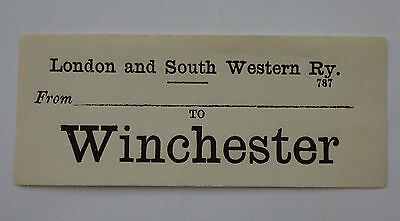 London & South Western Railway (L&swr) Luggage Label From ....... To Winchester