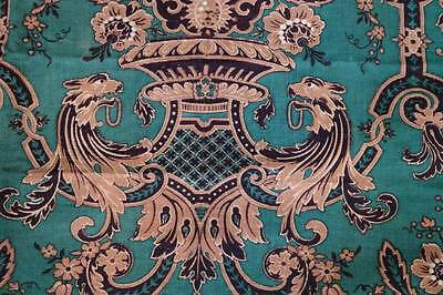 Antique French Griffin Gothic revival large handmade fabric panel curtain