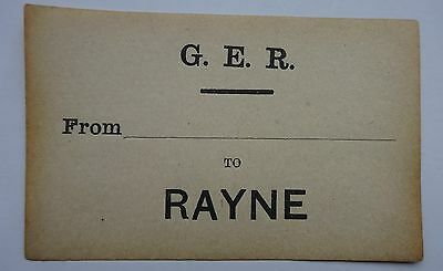 Great Eastern Railway (Ger) Luggage Label From ......... To Rayne