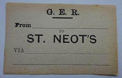 Great Eastern Railway (Ger) Label From ........ To St. Neot'S Via .........