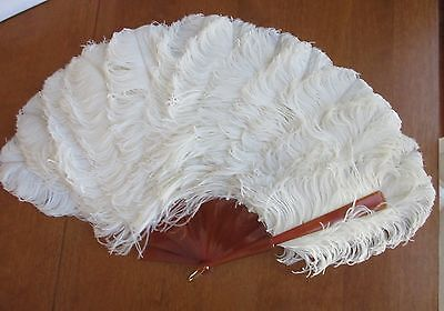 """antique,TIFFANY,HUGE 28"""" ACROSS,OSTRICH FEATHER,FAN,imperfect BUT WONDERFUL"""
