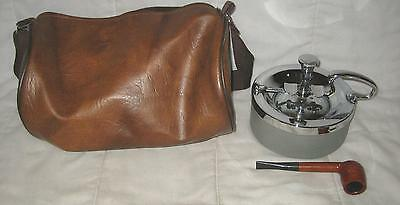 Lot Of 3 Vintage Lazy Susan Cigar Chrome Ashtray, Royal Sovereign Pipe & Bag