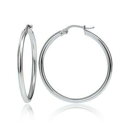 Sterling Silver 2mm High Polished Round Hoop Earrings, 30mm
