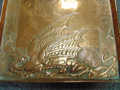 Large Arts And Crafts Copper Tray Decorated With Dragons Possibly Newlyn