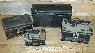antique small miniature tin tole metal storage box, lot of 4 Hinged dome top
