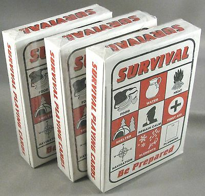 Survival Playing Cards 3 decks Bugout Backpack Pack Bag Prepper Supplies Gear