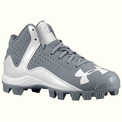 Under Armour Leadoff Mid RM JR Cleats Grey / White 1250081-021 (YOUTH)..1Y