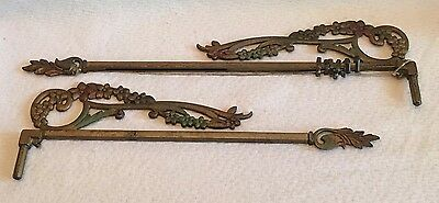 Vintage Art Deco Swing Arm Extend Curtain Rods Tri Color 2 Metal Drapery Rods