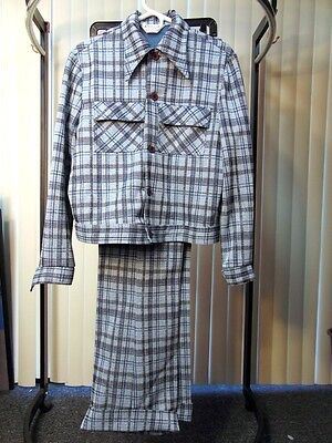 VTG 1970s 2pc POLYESTER LEISURE SUIT Blue Plaid HIP RETRO Throwback Style ii