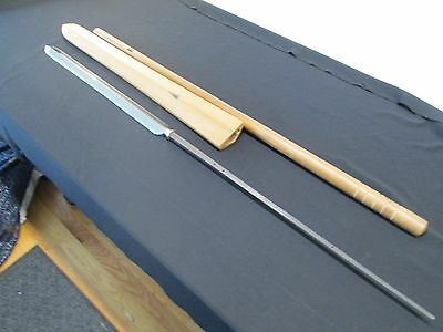 Huge Japanese Samurai Yari Sword With Scabbard Signed In Shirasaya Nbthk Paper
