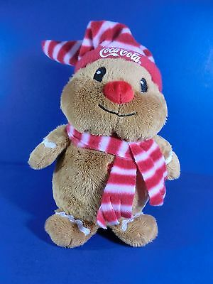 Coca Cola Coke Stuffed Red Nosed Animal Christmas 8.5 Inches 2009