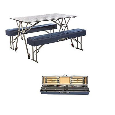 Outdoor Aluminum Portable Folding Picnic Table Camp Bench Tailgate Party Garden
