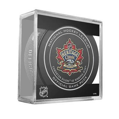 2016 Heritage Classic NHL Official Game Puck - Oilers vs. Jets